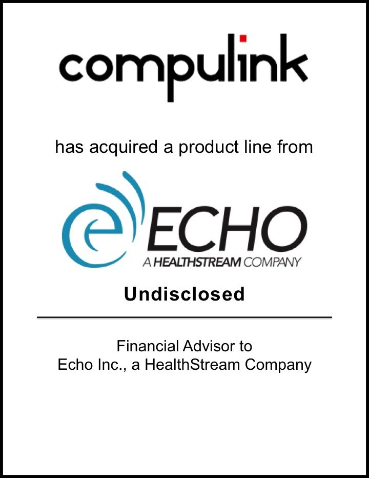 Compulink Business Systems Acquires a Product Line from Echo, a HealthStream Company